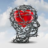 Protect Your Relationship. Or closed heart and the psychology of being introvert and shut out of feeling love with 3D illustration elements Royalty Free Stock Photos