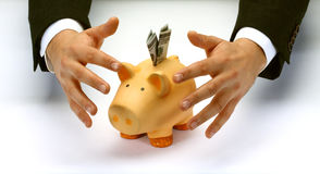 Protect your savings. Businessman's hands covering piggy bank royalty free stock image