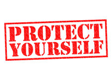 PROTECT YOURSELF. Red Rubber Stamp over a white background Royalty Free Stock Image