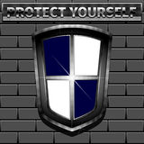 Protect yourself. Shield on brick wall. Vector illustration 10 EPS Stock Photos
