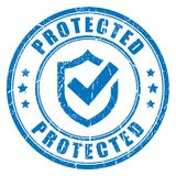 Protected abstract vector stamp. Illustration isolated on white background Stock Photography