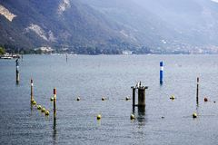 Protected area in Iseo Lake, Paratico, in order to promote extensive colonization by fisch and aquatic plants. Since 2005 innovative environment management royalty free stock photos