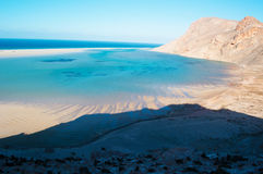 The protected area of Qalansia beach, the lagoon and the mountains, Socotra, Yemen Royalty Free Stock Photos
