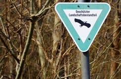 Protected birds warning sign stock photo