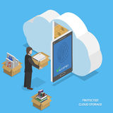 Protected cloud storage flat isometric vector. Protected cloud storage flat isometric vector concept. Man places his data to protected cloud storage via Royalty Free Stock Images