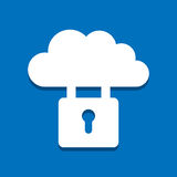 Protected cloud. Vector icon on blue background stock illustration