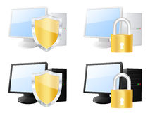 Protected computer icons Royalty Free Stock Photos