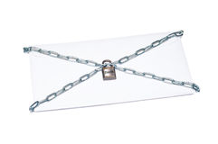 Protected correspondence. On a photo a letter is presented it is bound in chains on a white background Royalty Free Stock Images