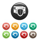 Protected credit card icons set color stock illustration
