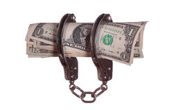 Protected dollars with handcuff Stock Photos