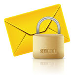 Protected email. Closed padlock and mail icon isolated on white Stock Photography