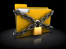 Protected files. 3d illustration of files folder with lock and chain, over black background Stock Images