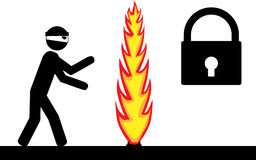 Protected by firewall. Vector white and black. Firewall protect lock from thief Stock Photography