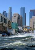 Protected by flood insurance. Flooding in the downtown Protected by flood insurance Stock Image