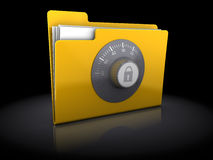 Protected folder. 3d illustration of folder protected with code lock, over black background Stock Images
