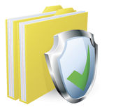 Protected folder document concept. File with green tick shield icon Stock Image