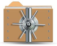 Protected folder and files. Icons for a computer folder with a vault lock on it Stock Images