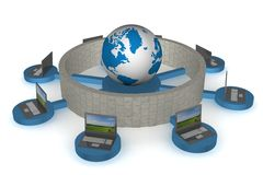 The protected global network the Internet. 3D image Stock Photography