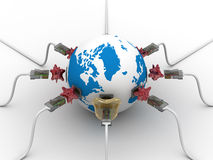 Protected global network the Internet. 3D image Stock Photos