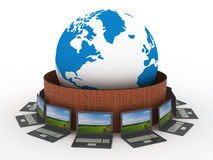 Protected global network the Internet. 3D image Royalty Free Stock Photography