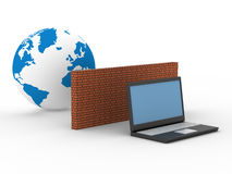 Protected global network the Internet. 3D image Royalty Free Stock Images