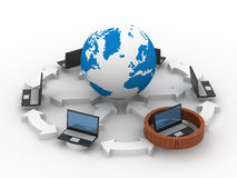 Protected global network the Internet. 3D image Royalty Free Stock Photos