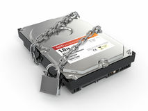 Protected hdd. Chain and lock on hard disk drive Royalty Free Stock Photos