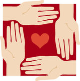 Protected heart. Heart protected by hands stock illustration