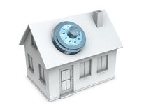 Protected house. One 3d render of a house with a safe dial coder on the roof. Concept of protection and security Stock Image
