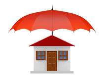 Protected House under Red Umbrella royalty free stock image