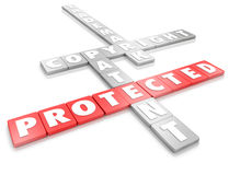 Protected Intellectual Property Legal Copyright Trademark Patent. Protected word on letter tiles and terms for legal protection including copyright, trademark Stock Photos