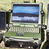 Protected laptop for military and industrial royalty free stock image