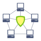Protected network. Illustration of the protected network between computers Stock Photo