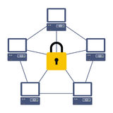 Protected network. Illustration of the protected network between computers Stock Photography
