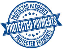 Protected payments round grunge stamp Royalty Free Stock Image