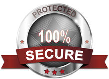 Protected 100% secure button. Silver protected 100% secure button Stock Photo