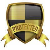Protected shield badge icon with line texture on surface royalty free stock photo