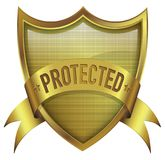 Protected shield badge icon with line texture on surface stock image