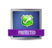 Protected shield button icon illustration Stock Photography