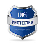 100 protected shield security vector icon. Isolated on white background Stock Photo
