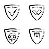 Protected shields. Set of antivirus icons Royalty Free Stock Images