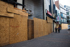 Protected shops before a carnival in Cologne Stock Photos