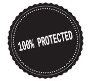 100%-PROTECTED text, on black sticker stamp. 100%-PROTECTED text, on black sticker stamp sign Stock Photos
