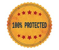 100%-PROTECTED text, on vintage yellow sticker stamp. Royalty Free Stock Image