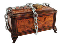 Protected treasure chest. Old wooden treasure chest (or jewelry box)  protected by metal chain, isolated on white Royalty Free Stock Image