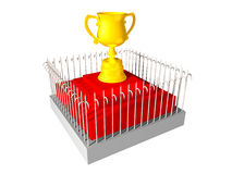 Protected Trophy. 3d render of Trophy protected by fence Stock Image