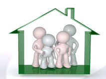 Protected under the home roof. Aadmii family under a roof. Concept image in white background Royalty Free Stock Images