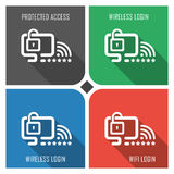 Protected wifi flat vector icon on colorful background. simple PC web icons eps8. Royalty Free Stock Photos