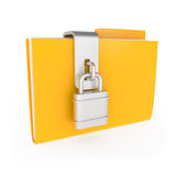 Protected Yellow Folder with lock  on white Stock Photos