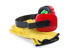 Protecteurs auriculaires et gants Photographie stock libre de droits
